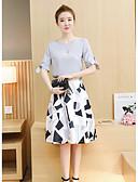 abordables Vestidos de Mujeres-Mujer Noche Algodón Blusa - Un Color Falda