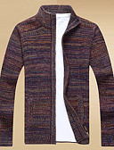 זול גברים-ג'קטים ומעילים-דפוס, צבעים מרובים - קרדיגן שרוול ארוך עומד בגדי ריקוד גברים