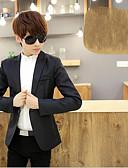 זול גברים-ג'קטים ומעילים-אחיד צווארון חולצה בלייזר - בגדי ריקוד גברים כותנה / שרוול ארוך
