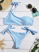 abordables Biquinis y Bañadores para Mujer-Mujer Con Tirantes Azul Piscina Bandeau Pícaro Bikini Bañadores - A Rayas Estampado S M L