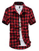 baratos Camisas Masculinas-Homens Camisa Social Quadriculada Algodão / Manga Curta