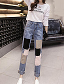 tanie Damskie spodnie-Damskie Prosty Średnio elastyczny/a Jeansy Spodnie, Średni stan Poliester Wielokolorowa Wiosna