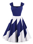 baratos Vestidos de Mulher-Mulheres Tamanhos Grandes Para Noite Activo Algodão Evasê / Bainha Vestido Sólido / Retalhos Com Alças Altura dos Joelhos Azul e Branco