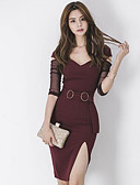 povoljno Ženske haljine-Žene Jednostavan Pamuk Bodycon Haljina Color block V izrez Iznad koljena / Proljeće / Jesen / S izrezom / Uske