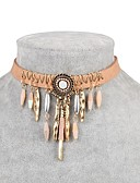 cheap Women's T-shirts-Women's Cubic Zirconia Choker Necklace Zircon Leather Ladies Classic Fashion Light Brown Necklace Jewelry One-piece Suit For Daily