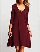 זול שמלות נשים-בגדי ריקוד נשים בסיסי מכנסיים - צבע אחיד יין / צווארון V