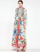 זול שמלות נשים-עומד מקסי פרחוני - שמלה סווינג כותנה מידות גדולות בסיסי / בוהו בגדי ריקוד נשים
