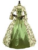 저렴한 장난감&취미-로코코 빅토리안 18 세기 코스츔 여성용 드레스 그린 빈티지 코스프레 3/4 길이 소매 퍼프 / 벌룬 바닥 길이 긴 길이 볼 드레스 플러스 사이즈 사용자 정의