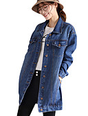 cheap Women's Sweaters-Women's Vintage Cotton Denim Jacket - Solid Colored Shirt Collar / Fall