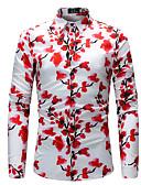 זול גברים-ג'קטים ומעילים-פרחוני צווארון קלאסי רזה מידות גדולות חולצה - בגדי ריקוד גברים דפוס / שרוול ארוך