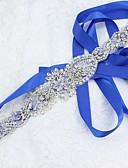 Χαμηλού Κόστους Κορδέλες για πάρτι-Σατέν / Τούλι Γάμου / Πάρτι / Βράδυ Ζώνη Με Κρυσταλλάκια / Ψεύτικο Μαργαριτάρι / Κρύσταλλοι / Στρας Γυναικεία Ζώνες για Φορέματα