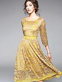זול שמלות נשים-בגדי ריקוד נשים כותנה מכנסיים - צבע אחיד תחרה בז'