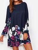 זול שמלות נשים-מעל הברך פרחוני - שמלה משוחרר / טוניקה בסיסי ליציאה בגדי ריקוד נשים / אביב / קיץ / דפוסי פרחים
