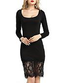 זול שמלות נשים-מידי תחרה, צבע אחיד - שמלה נדן רזה בגדי ריקוד נשים