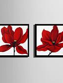 preiswerte Brautjungfernkleider-Blumenmuster/Botanisch Darstellung Wandkunst,Plástico Stoff Mit Feld For Haus Dekoration Rand Kunst Wohnzimmer Drinnen