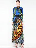 baratos Vestidos de Mulher-Mulheres Básico / Boho Algodão balanço Vestido Estampa Colorida / Animal Colarinho Chinês Longo
