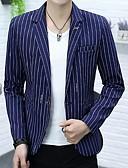 זול גברים-ג'קטים ומעילים-פסים דש קלאסי רזה בלייזר-בגדי ריקוד גברים,דפוס / שרוול ארוך / עבודה