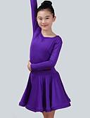 preiswerte Krawatten & Fliegen-Latein-Tanz Kleider Mädchen Leistung Elasthan Horizontal gerüscht Langarm Kleid
