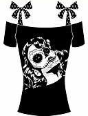 tanie T-shirt-T-shirt Damskie Boho, Kokarda Bawełna Urlop / Wyjściowe Bateau Groszki / Nadruk / Lato / Sznurowany