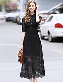 זול שמלות נשים-צווארון חולצה תחרה בסיסי, צבע אחיד - שמלה נדן בגדי ריקוד נשים