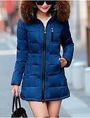 זול Bomber Jackets-צבע אחיד מרופד ארוך כותנה בגדי ריקוד נשים