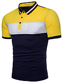 cheap Men's Polos-Men's Active Cotton Polo - Color Block Black & White, Basic Shirt Collar / Short Sleeve
