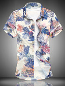 זול חולצות לגברים-פרחוני מידות גדולות, חולצה - בגדי ריקוד גברים כותנה