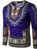זול חולצות לגברים-גיאומטרי צווארון עגול טישרט - בגדי ריקוד גברים / שרוול ארוך