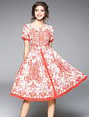 baratos Vestidos Femininos-Mulheres Vintage / Moda de Rua Delgado Evasê Vestido Geométrica Altura dos Joelhos