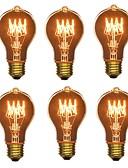 olcso Férfi nadrágok és rövidnadrágok-6db 40 W E26/E27 A60(A19) Meleg fehér 2200-2700 K Retro Tompítható Dekoratív Izzólámpa Vintage Edison izzó 220-240 V V