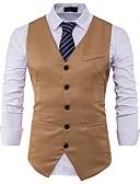 זול חולצות לגברים-אחיד רזה וסט-בגדי ריקוד גברים,בסיסי / ללא שרוולים / עבודה