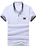 זול חולצות פולו לגברים-אחיד צווארון חולצה רזה סגנון רחוב ספורט כותנה, Polo - בגדי ריקוד גברים / שרוולים קצרים