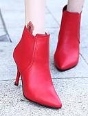 ieftine Salopete Damă-Pentru femei Pantofi PU Primăvară Toamnă Cizme la Modă Confortabili Cizme Toc Stilat Cizme / Cizme la Gleznă pentru Casual Negru Rosu