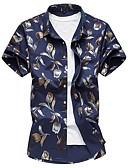 זול חולצות פולו לגברים-פרחוני רזה כותנה, חולצה - בגדי ריקוד גברים