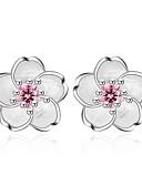 ieftine Pantaloni de Damă-Pentru femei Zirconiu Cubic Cercei Stud - Zirconiu Floare Dulce, Modă Roz Pentru Zilnic / Dată