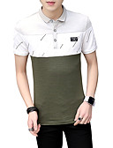 hesapli Erkek Polo Tişörtleri-Erkek Polo Desen,Solid Zıt Renkli Temel Sokak Şıklığı