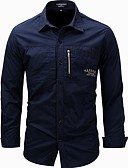 זול טישרטים לגופיות לגברים-אחיד סגנון רחוב כותנה, חולצה - בגדי ריקוד גברים דפוס / שרוול ארוך