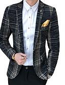 זול גברים-ג'קטים ומעילים-אחיד צווארון חולצה יום יומי בלייזר - בגדי ריקוד גברים כותנה