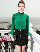baratos Súeteres Femininas-Mulheres Camisa Social - Trabalho Básico, Sólido Seda