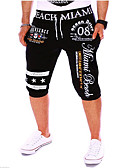 tanie Męskie spodnie i szorty-Męskie Sportowy / Aktywny Bawełna Typu Chino / Spodnie dresowe Spodnie - Litera Nadruk Biały / Wiosna / Lato