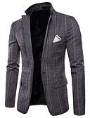 זול בלייזרים וחליפות לגברים-משובץ דש רשמי בלייזר-בגדי ריקוד גברים / שרוול ארוך