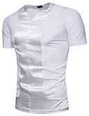 billige Hettegensere og gensere til herrer-Bomull Rund hals T-skjorte Herre - Ensfarget, Paljetter / Kortermet
