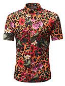 baratos Camisas Masculinas-Homens Tamanhos Grandes Camisa Social - Praia Boho / Moda de Rua Estampado, Floral / Estampa Colorida Algodão / Manga Curta