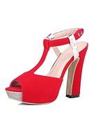 זול טרנינגים וקפוצ'ונים לגברים-בגדי ריקוד נשים נעליים דמוי עור אביב / קיץ רצועה אחורית סנדלים עקב עבה בוהן מציצה שחור / אדום / כחול / מסיבה וערב