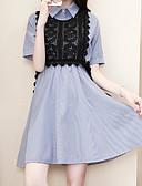 זול שמלות נשים-צווארון חולצה מעל הברך אחיד - שמלה נדן רזה כותנה מידות גדולות בגדי ריקוד נשים