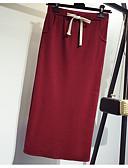 tanie Damska spódnica-Damskie Puszysta Bawełna Bodycon Spódnice - Wyjściowe Solidne kolory Rozcięcie Wysoka talia