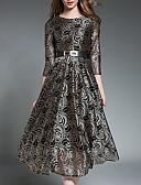tanie Sukienki-Damskie Szczupła Linia A Sukienka - Solidne kolory, Podstawowy Wysoka talia Midi