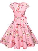 abordables Vestidos de Mujer-Mujer Noche Activo Básico Algodón Delgado Corte Swing Vestido - Estampado, Floral Hasta la Rodilla