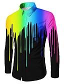 זול חולצות פולו לגברים-גיאומטרי צווארון קלאסי בוהו כותנה / פוליאסטר, חולצה - בגדי ריקוד גברים