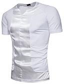 זול תחתוני גברים אקזוטיים-אחיד צווארון V סגנון רחוב כותנה, טישרט - בגדי ריקוד גברים / שרוולים קצרים
